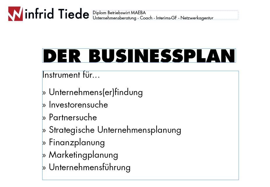 Businessplan erstellen - Winfrid Tiede