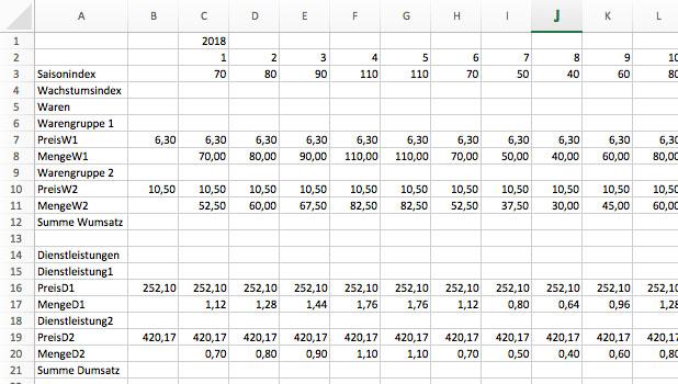 Finanzplanung mit Excel, Umsatzplanung 3