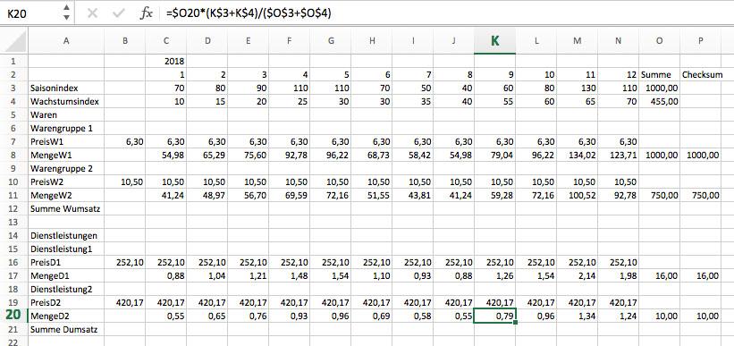 Finanzplanung mit Excel, Umsatzplanung 4