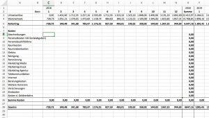 Finanzplan mit Excel, Plan GuV Schritt 2
