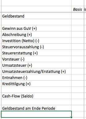 Finanzplanung mit Excel, Cash-Flow 1