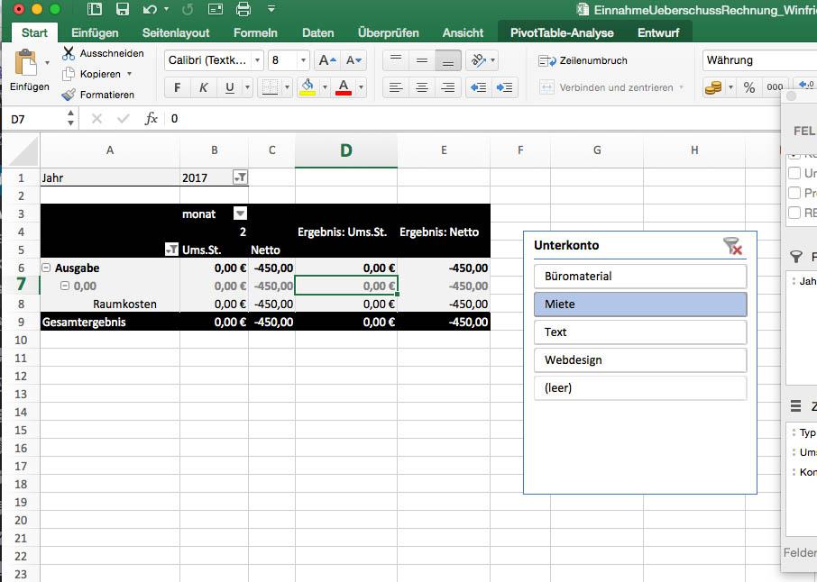 Datenschnitt und Pivot-Tabelle Excel