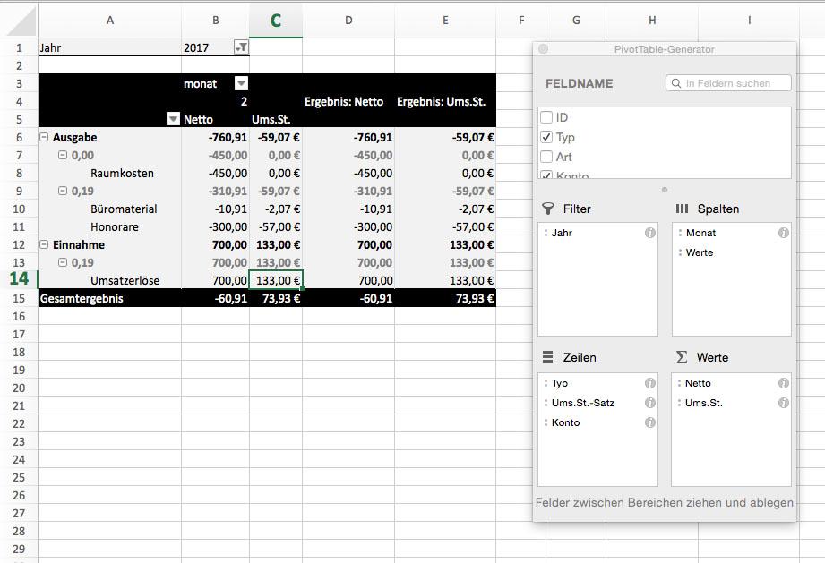 Einnahmeüberschussrechnung Pivottabelle